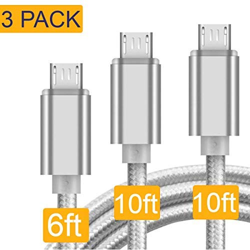 Micro USB Cable, USB to Micro USB Cable [3-Pack 10FT 10FT 6FT] Nylon Braided USB 2.0 Fast Data Sync & Charge Cord Compatible for Samsung, Kindle, HTC, LG, Sony, Nexus, Nokia (Silver)