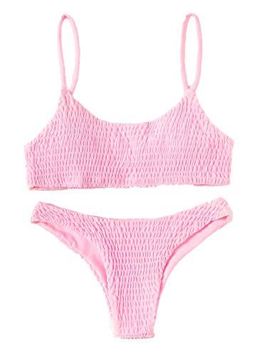 Verdusa Women's 2 Peices Bathing Suit Smocked Wireless Bikini Bandeau Top Thong Swimsuit Pink L