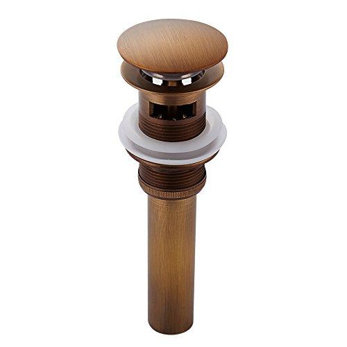 Weare Home Retro Einfach Design alle Messing Deko Pop Up Ventil Ablaufgarnitur Push Open Technik Waschbecken Ablauf mit Überlauf