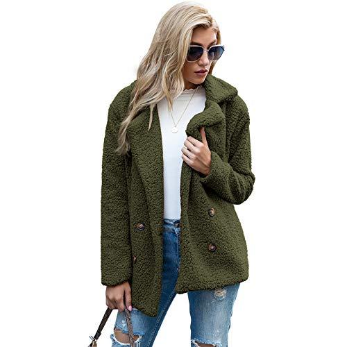 Whitzard Abrigo de mujer casual de dos filas de piel sintética corta con solapa, manga larga, monocolor, para invierno, elegante y cálido verde XXXL