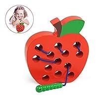 🍎【Sicuro per i Bambini】- Il giocattolo Mela è realizzato in legno sostenibile, vernici ecologiche e non tossiche. Esecuzione perfetta, foro liscio senza schegge. I bambini possono giocare in sicurezza. Dimensioni: L 14 cm x L 15 cm x H 2,5 cm 🍎【Attir...