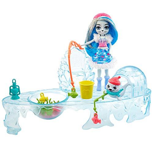 Enchantimals GJX48 - Enchantimals Angelfreunde Spielset zum Eisangel mit Sashay Seal Puppe (15,24cm) & Tierfigur Blubber, Wasser hinzugeben und losangeln