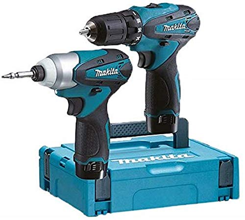Makita LCT204J Pack de 2 Machines en coffret Makpac avec 2 batteries 10,8 V 1,3 Ah, Bleu