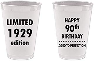 Mandeville Party Company, 10 count Frost Flex Plastic Cups, Happy 90th Birthday - Limited 1929 Edition, Aged to Perfection
