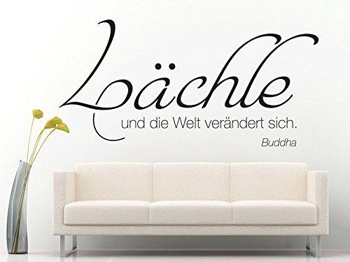 Klebeheld® Wandtattoo Lächle und die Welt verändert Sich. - Buddha (Farbe grau/Größe 80x38cm)