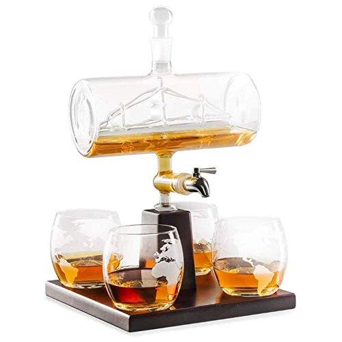 GHJA Juego de Jarra de Whisky, Hecho a Mano, decoración del hogar Creativa, con 4 Vasos, Soporte de Madera de Roble, para Whisky, Alcohol de Ron