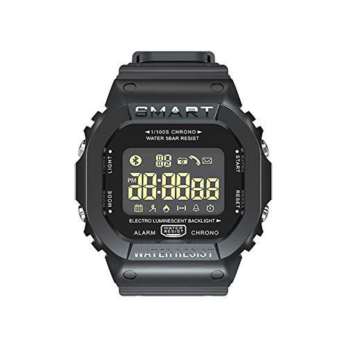 Intelligent horloge, intelligent sporthorlogeband, stappenteller-management, melding van oproepinformatie en bluetooth-klok met lichtgevende wijzerplaat, geschikt voor dagelijks gebruik., Zwart, Kleur: