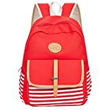 HYSGM Women Girls Canvas Backpack Stripe Printed Shoulder Bookbags Students School Travel Bag (Red)