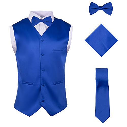 Vittorino Mens 4 Piece Formal Vest Set Combo with Tuxedo Vest Tie Bow Tie and Handkerchief, Royal, Large