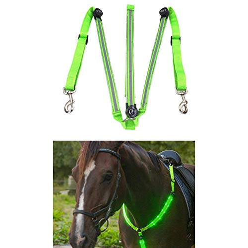 Kenyaw USB wiederaufladbar Nachtsichtbare LED-Pferdehalsband Leuchtendes Pferdebrustgurt-Sicherheitsausrüstung in der Nachtausrüstung für Pferde