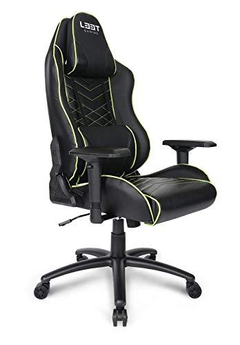 L33T Gamingstoel, ergonomische E-Sport PC-stoel met nek- en lendensteun, PU-leer, hoge rugleuning, verstelbare draaistoel E-Sports Gaming Chair