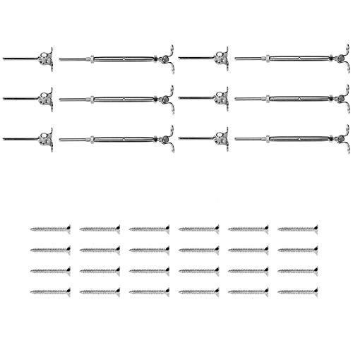 Senmubery áNgulo Ajustable 180 ° Ajuste para Kit de Barandilla de Cable de 1/8 de Pulgada/Herrajes para Herrajes de Tensor de Postes de Madera T316 Acero Inoxidable (6 Pares)