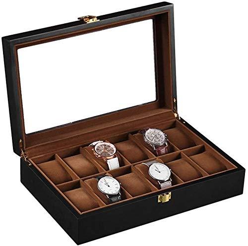 Caja de reloj Caja de reloj para hombres Vitrina de 12 ranuras Soporte grande Hebilla de metal Colección de organizador de reloj negro