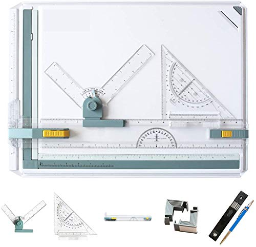 Frylr Inch A3 Drawing Board Drafting Table Multifunctional Drawing Board Table with Clear Rule Parallel Motion and Angle Adjustable Measuring System