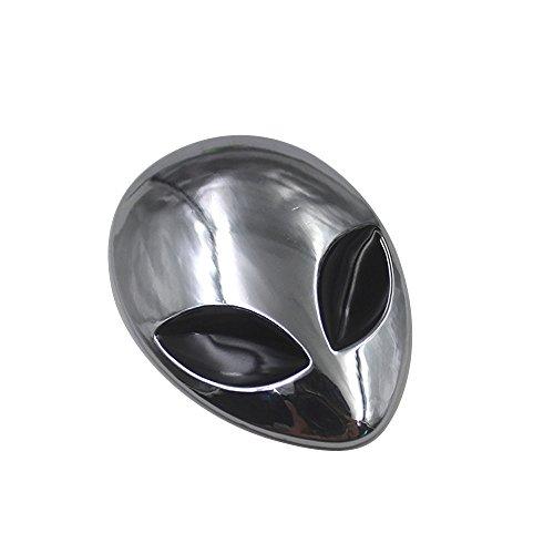 Auto Motorrad Metall Aufkleber 3D Metall Sticker Alien Kopf Form Silber