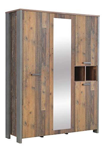 FORTE Jugendzimmer Kleiderschrank, 3-türig, eine Spiegeltür, in trendigem Vintage/Industrial Look