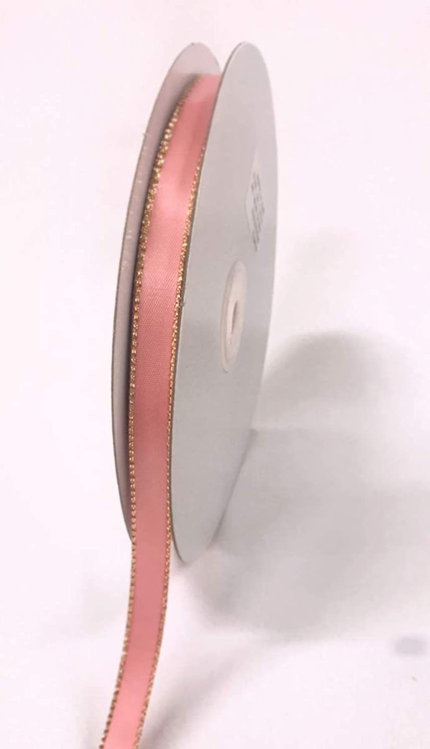 Ben Collection Dusty Rose 50 Yards Double Face Satin Ribbon with Metallic Gold Edge Multi Size (3/8