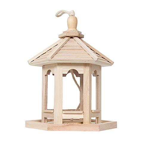 cdar Bird Feeder High Capacity Hexagon Shaped Roof Exquisite Solid House Idyllic Wood Creative Bird Nest Feeder Box for Garden Outdoor Wooden Color