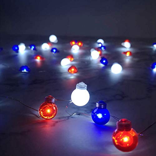 Patriotic Red White Blue Bulb Shape LED String Lights for Independence Day Decoration Parade Barbeque Party Picnic, 30 LEDs Battery Operated with Multi-Function Remote