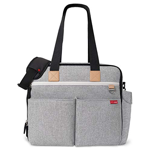 Skip Hop Diaper Bag: Iconic Duo Weekender, Extra Large Capacity with Changing Pad & Stroller Attachment, Grey Melange