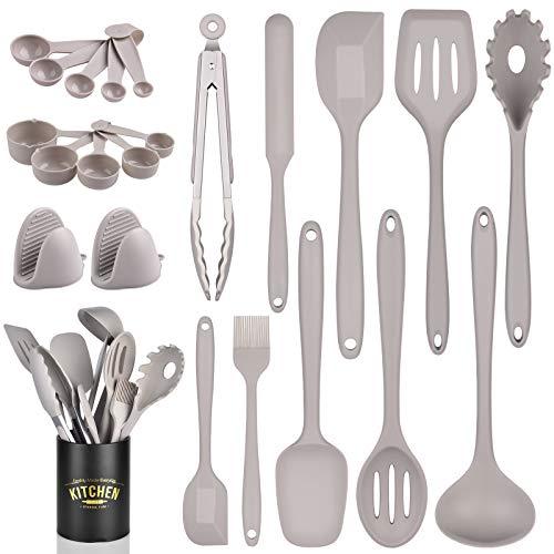Uarter Juego de 33 utensilios de cocina de silicona con tazas medidoras y cucharas para cocinar y hornear, guante de silicona resistente al calor y cuchara antiadherente, soporte para utensilios