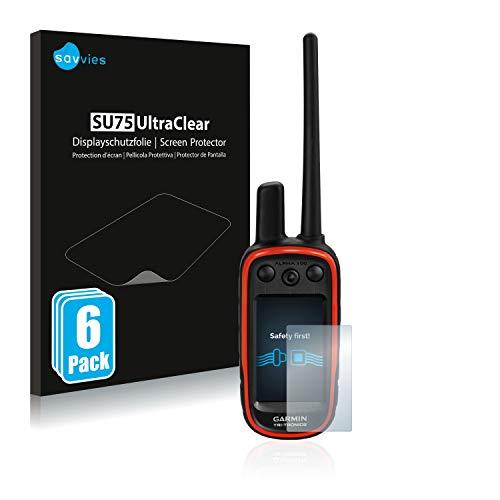 savvies Protector Pantalla Compatible con Garmin Alpha 100 (6 Unidades) Pelicula Ultra Transparente