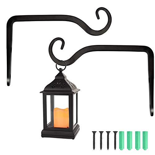 Jashem Lantern Bracket Hanger Decorative Iron Hanging Plant Bracket Wall Hooks Metal for Bird Feeders, Wind Chimes, Indoor Outdoor, 6 inch (Style B)
