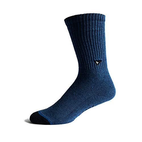 Arvin Goods Recycled Cotton Crew Socks Men or Women. 7 Colors Available. For Sports or Daily Wear (S/M, Blue)