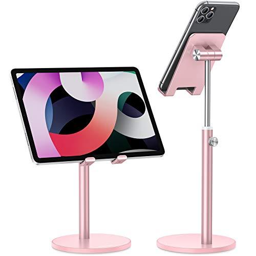 OMOTON Supporto Telefono, Universale Supporto Cellulare Regolabile, Porta Tablet da Tavolo, Dock per iPhone SE/12 Pro Max/12 Mini/11/XS/8, iPad, Samsung, Altri Tablet e Smartphone(4,7-12,9'), Oro Rosa