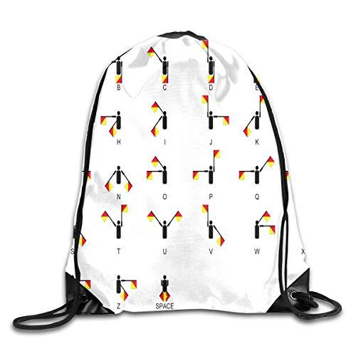 uykjuykj Tunnelzug Rucksäcke, Drawstring Backpack Bag International Alphabet Rucksack for Gym Travel Color 01 Lightweight Unique 17x14 IN