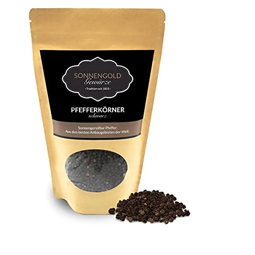 Sonnengold schwarzer Pfeffer   Pfefferkörner schwarz in Premium Qualität, doppelt gesiebt & gereinigt   frisch sonnengetrocknet aus Ecuador, natürlich & rein, 120g
