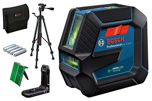 Bosch Professional Linienlaser GLL 2-15 G (grüner Laser, Halterung LB 10, Stativ BT 150, sichtbarer Arbeitsbereich: bis 15 m, 4x AA-Batterie, in Kartonschachtel)