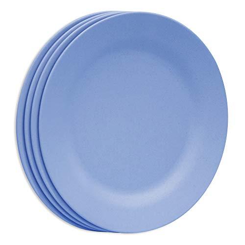 Plato de cena de pasta liviana de 11 pulgadas, platos de ensalada de paja de trigo irrompibles, plato de postre reutilizable, vajilla extra grande para servir para niños y adultos (28 cm, 4 azul)