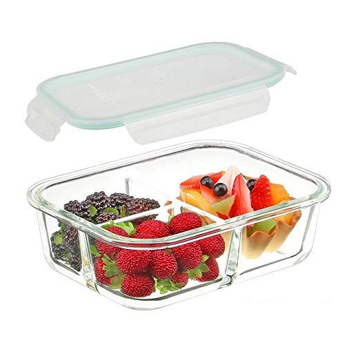 HOMIES INTERNATIONAL 3 Compartment Rectangular Glass Storage Bowl Set with Clamp Plastic Multicolour Lid (1000ML)