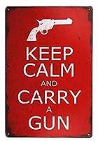 アメリカ雑貨 ブリキ看板 KEEP CALM AND CARRY A GUN ビンテージ調 看板 イギリス WW2 第2次世界大戦 壁飾り インテリア 壁面装飾 おしゃれ ポスター アンティーク