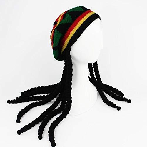 Qb Hombres Mujeres Novedad Dreadlocks Peluca Sombrero Reggae Crocheted Knit Beanies Long Black Hair Beret Cap-Default