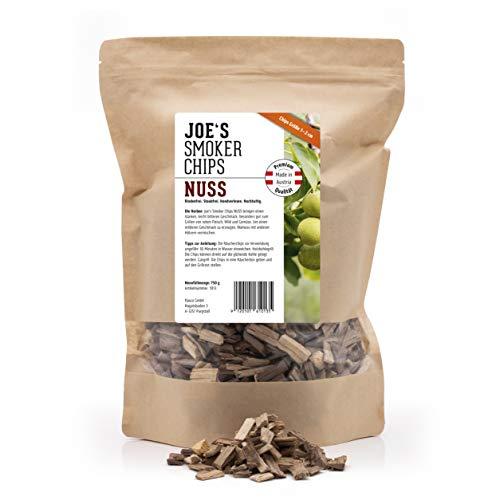 Joe\'s smoker chips 1013 Nuss 750g Chips 1-2cm, Premium Raucherchips für EIN optimales Raucharoma beim Grillen. 100{89dd5c9339313e3e625dfee4d364b9ba2e16b1ddf68f23c8a0ab5386cd53ad10} natürliches und rindenfreies Räucherholz.