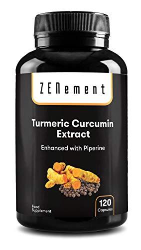 Extracto de Raíz de Cúrcuma con Pimienta Negra, 120 Cápsulas | Potente antioxidante, para la salud de las articulaciones | Máxima concentración | 100% Natural | de Zenement