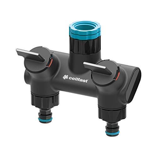 Cellfast 2-Wege-Verteiler Ergo ermöglicht einen gleichzeitigen Anschluss von Zwei Anlagen an einen Wasserhahn, fliessende Regulierung des Wasserdurchflusses, 53-220, Schwarz
