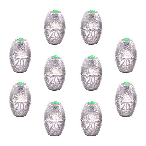 Swpeet 10Pcs 20g Egg Olive Shape Sinkers Fishing Sinkers Worm Sinker Fishing Weights Bass Casting Bullet Weight for Rig Fishing