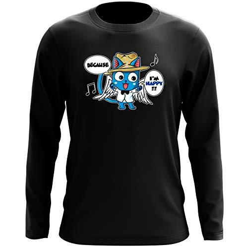 Okiwoki T-Shirt à Manches Longues Noir Fairy Tail parodique Happy : Happy Williams : (Parodie Fairy Tail)