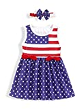 4th of July Dress Toddler Kids Baby Girl Fourth Outfit Short Sleeve Stripe Top Patriotic Clothes Custom Dress (Blue-Star, 4_Years)