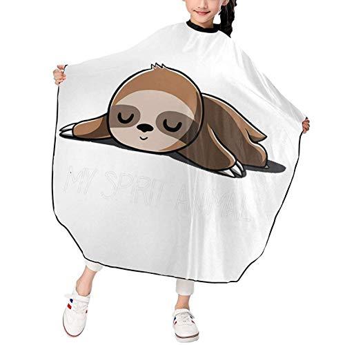 Sloth My Spirit Capa de corte de pelo de peluquero con estampado de animales para salón de niños Delantal de corte de pelo para niños y niñas Impermeable Durable 39 x 47 pulgadas