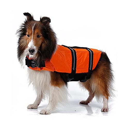 Q-YR Chaleco Salvavidas De Mascotas, Ropa De Asistencia De Natación para Perros, Alta Visibilidad Y Gran Flotabilidad Chaleco para Piscina En La Playa,Naranja,M