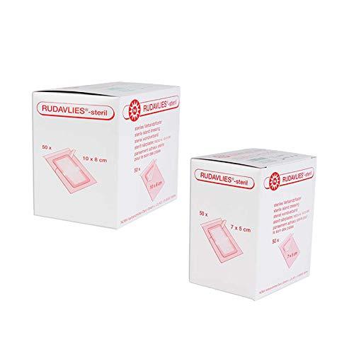 Noba Rudavlies sterile Wundpflaster 50 Stück (7 cm x 5 cm) + 50 Stück (10 cm x 8 cm)