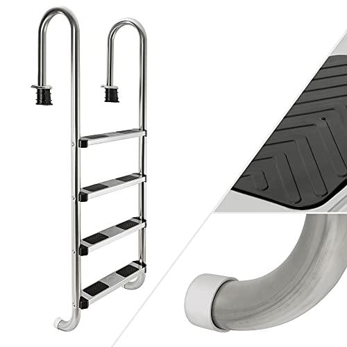 Arebos Edelstahl Poolleiter 3 oder 4 Stufen | mit Antirutschpads auf den Sprossen | Einstiegsleiter Silber | Einbauleiter 4 Stufen | 157 x 49 x 23 cm