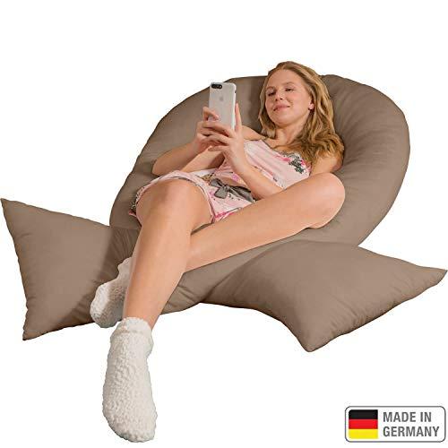Traumreiter Jumbo XXL Seitenschläferkissen mit Bezug hell-braun I Schwangerschaftskissen U Form Full Body Pillow Seitenschläfer Kissen für Schwangere Lagerungskissen