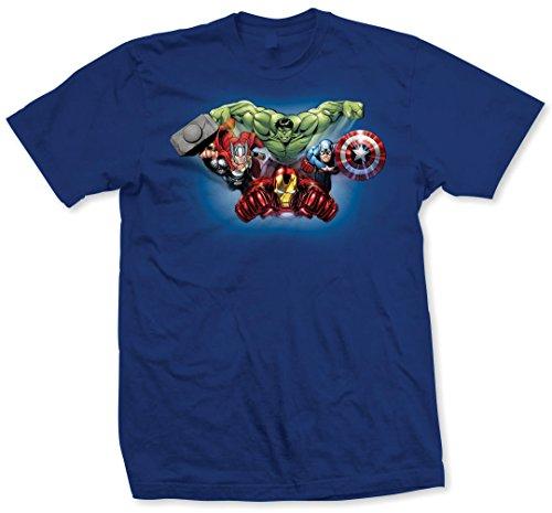 Marvel Avengers Character Fly T-Shirt, Bleu-Bleu, X-Large Homme