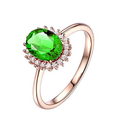 ANAZOZ Schmuck Ring Silber 925 Vintage, Sterling Silber Solitärring Hochzeitring Echt Grün Kristall Antragsring...