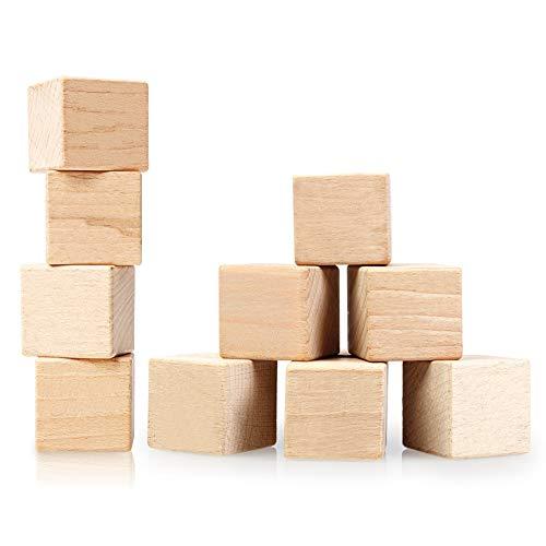10 piezas cubos de madera 25 mm cubos de madera decoración en blanco artesanía de madera material para manualidades cubos cuadrados de madera decoración natural